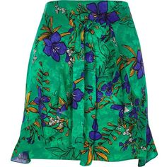 River Island Green floral print wrap front mini skirt ($64) ❤ liked on Polyvore featuring skirts, mini skirts, green, women, wrap skirts, jacquard mini skirt, green mini skirt, short skirts and floral wrap skirt
