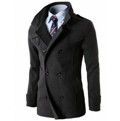 MENS QUILITING WOOL COAT WITH ZIPPER DETAILS (KMOCO06)