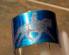 """HORSE Bracelet Etched Pewter Cuff  2"""" wide Dressage Rider handmade cobalt sapphire blue Joann Hayssen SRA"""