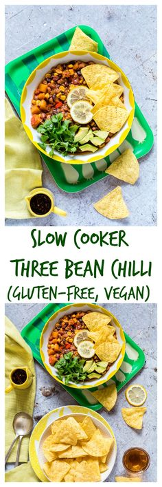 This slow cooker three bean chili is made with black-eyed peas (beans), kidney beans, pinto beans, corn, tomatoes, and a bunch of delicious spices. #beanchili #beansoup #slowcookerrecipes #chilirecipes #easychilirecipes