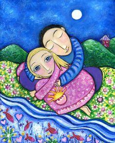 Couple Lovers Whimsical Folk Art Print Dream by LindyLonghurst