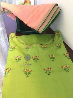 WhatsApp 9035330901 to customise hand embroidery materials. Embroidery On Kurtis, Hand Embroidery Dress, Kurti Embroidery Design, Embroidery Neck Designs, Embroidery Suits, Embroidery Patterns, Embroidery Materials, Simple Embroidery, Salwar Pattern