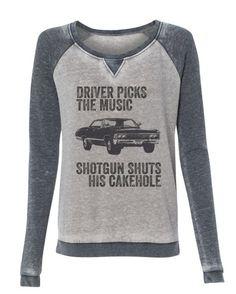 Supernatural - Driver picks the music quote Supersoft sweatshirt - off shoulder wide neck