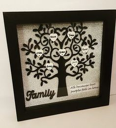 Family Tree Gift - Wooden Family Tree - Tree Of Life - Personalized Tree - Wedding Gift - Anniversary Gift - Mum Birthday Gift - Family Gift Deep Picture Frames, Family Tree Picture Frames, Family Tree With Pictures, Family Tree Frame, Deep Box Frames, Family Trees, Mum Birthday Gift, Scrabble Frame, Personalised Family Tree