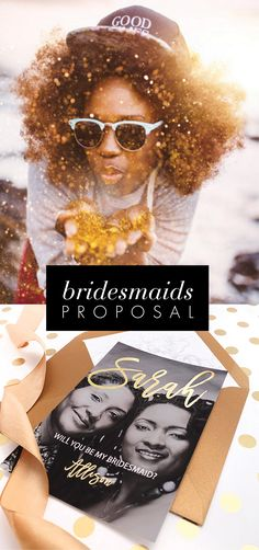 Will you be my bridesmaid cards with YOUR photo. Gold and black color theme.