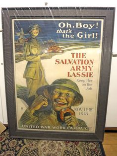 Salvation Army vintage print - custom framed with the look of aged steel in an industrial style wood frame
