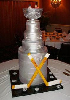 Really cool Stanley Cup Wedding Cake!