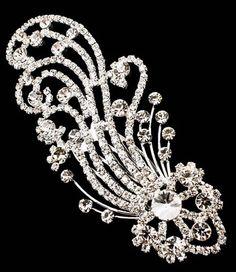 Huge Chunky Clear White Rhinestone Wedding Bridal Prom Silver Hair Clip Comb   eBay