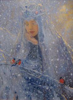"""The Snow Queen"", Vladimir-Kireev, Snow Queen, Ice Queen, Art And Illustration, Fantasy Kunst, Fantasy Art, Fantasy Makeup, Yule, Fairytale Art, Russian Art"