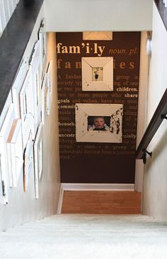 Clever and Cool Basement Wall Ideas Photo Wall. Put photos on the wall down and at the end of the steps or at the top of stairs. Put photos on the wall down and at the end of the steps or at the top of stairs. Basement Makeover, Basement Renovations, Home Remodeling, Basement House, Basement Stairs, Basement Bathroom, Basement Shelving, Basement Entrance, Open Basement