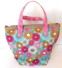 Insulated  Large Lunch Bag Eco Friendly  Pink by GabbysQuilts, $24.98