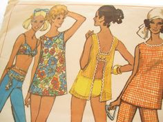 60s Vintage Bathing Suit and Pants Pattern: Simplicity 8153, Bust 36. $25.00, via Etsy.