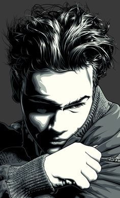 Artist: Mel Marcelo {figurative vector art male head young man face portrait digital drawing}