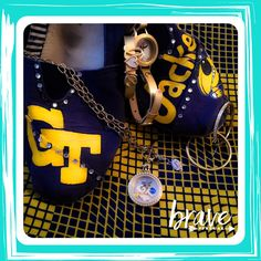 Game day swag. Georgia Tech locket by Origami Owl with my Lularoe Nicole. www.nancypye.origamiowl.com  Come hang out with the cool owls in my VIP Wise Pyes Parliament: https://www.facebook.com/groups/1187295431336411