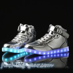 FLASHING GEAR shiny sliver UNISEX high TOP LED LIGHTUP shoes