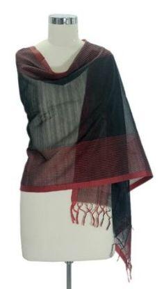 Cotton and silk shawl, 'Madhya Pradesh Night' NOVICA. $39.95