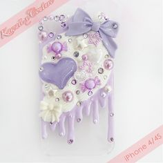 Lilac Whipped Cream & Frosting iPhone 4/4S Decoden Case | $30.00 SHOP: www.etsy.com/shop/kawaiixcoutureHandmade decoden phone cases, jewelry, & accessories ♡