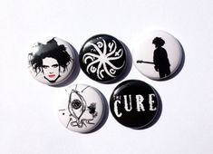 """Alternative New Wave Robert Smith music 4 x The Cure 1/"""" Pin Button Badges"""