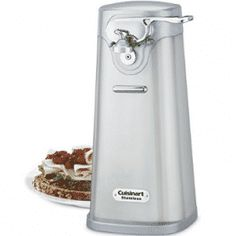 Cuisinart SCO 60 Deluxe Stainless Steel Can Opener. Brushed stainless steel, simple lines and an embossed Cuisinart logo put this classic can opener into the designer category. An extra-wide bas. Electric can opener with precision Power Cut blade.