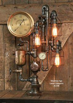 Steampunk Industrial Lamp / Antique Brass Oiler and Steam Gauge / #1298