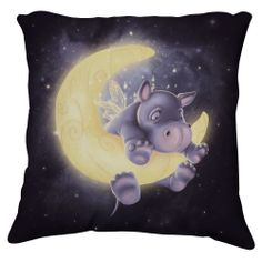 A baby hippo cartoon on the moon - Lovely Cartoon Illustrations by Anne Patzke Cute Hippo, Baby Hippo, Baby Animals, Cute Animals, Wild Animals, Jolie Photo, Hippopotamus, Moon Art, Children's Book Illustration