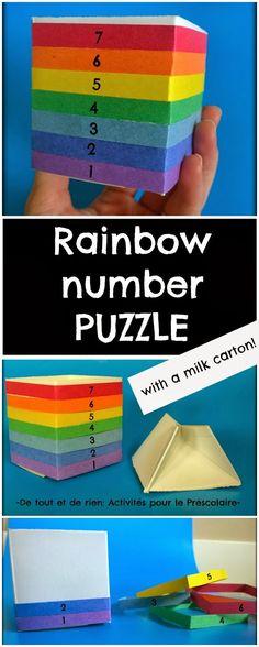 De tout et de rien: Activités pour le Préscolaire: Upcycled milk carton: A rainbow number puzzle - Recycler un carton de lait: Faire un casse-tête arc-en-ciel des nombres