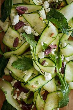 Raw Zucchini Ribbon Salad with Olives and Mint #GourmandeintheKitchen