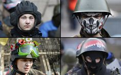 Various types of protective headgear used by anti-government protesters in Independence Square in Kiev, Ukraine