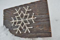 Let it Snow Snowflake String Art Rustic by LottieElizabeth on Etsy