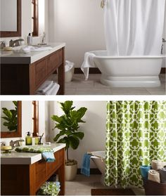 Jazz up the bathroom with an eclectic mix of items. #BeforeandAfter #Bathroom