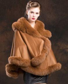 Real Fur Coat & Jacket | Real Fur Coat & Jacket | Fox Trimmed Cashmere Cape | SKU-ffcafo138b | Fur Shop Online Cashmere Cape, Hooded Parka, Fur Collars, Fox Fur, Fur Trim, Coats For Women, Camel, Jackets, Furs