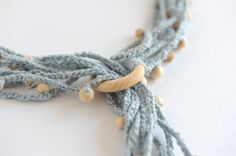 Cotton necklace necklace with wooden beadsglass bead by knotLAB, €35.00