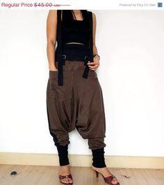 SALE30%OFF 03. Brown/Black - Ninja Pants, Suspender Drop Crotch Trousers, Unisex Gaucho , Ribbed Cotton,Two Tone Colour. #handmadeClothing #PopularPants