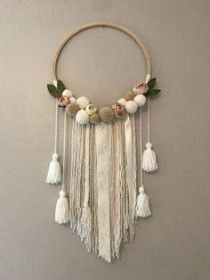 Excited to share this item from my shop: Floral Wall HangFloral Wall hang made to order. All Pom Pom's are made by hand. Mural Floral, Floral Wall, Diy Home Crafts, Crafts To Sell, Macrame Wall Hanging Diy, Handmade Wall Hanging, Macrame Curtain, Pom Pom Crafts, Creation Deco