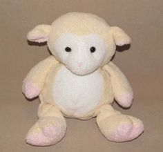 Ty Pluffies Shearly Cream White Pink Lamb Sheep Plush Stuffed Beanie Toy 2003 #Ty