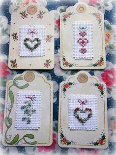 Cross Stitch Christmas tags I made ~ Kandi.