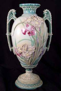 Antique Hand Painted Japanese Nippon Moriage Lily Vase Greco Roman