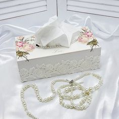 Pink Roses Tissue Box Cover Kleenex Box Cover by Chiclaceandpearls