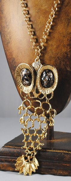 Vintage Large Eyed Articulated Owl Pendant by ErikasCollectibles, $84.00