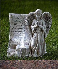 Solar Memorial Statue Garden Angel Lighted Stone Yard Decor Weeping Powered