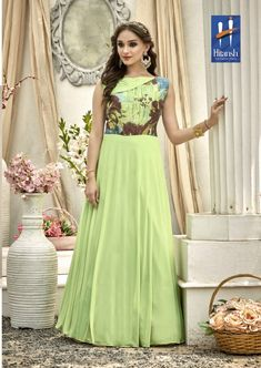 ed2d990be27 Buy Ravishing Pear Green Colored Designer Embroidered Work Fancy Fabric Gown  at Rs. Get latest Gown ✓Genuine Products ✓ Easy Returns ✓ Best Pricing