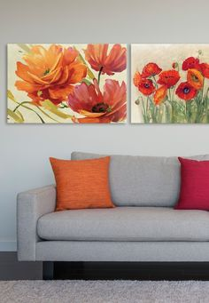 Lisa Audit and Carol Rowan's red and orange art prints meld together to showcase gorgeous contemporary floral designs that are both brilliant and inspiring. Perfect for an office, living room, or guest room. Big Canvas Art, Big Wall Art, Living Room Orange, Orange Art, Orange Poppy, Photo To Art, Art Moderne, Painting Inspiration, Poppies