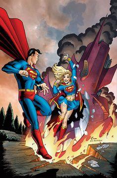 Superman & Supergirl - Amanda Conner - Action Comics 252 homage
