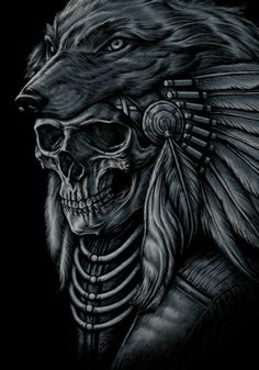 ~~~Native Indian ~~~ Wolf and Feather Head Dress 'Possible Metaphor' The Skull indicates the death of a Native Indian, that wore this Head Dress once upon a time.I'll be dying soon I have Indian in me. Wolf Tattoos, Body Art Tattoos, Sleeve Tattoos, Tatoos, Native Tattoos, Biker Tattoos, Koch Tattoo, Tattoo Bauch, Indian Wolf