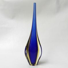 Murano Galliano Ferro? Thin bud vase. Vintage 50s/60s cased. Sommerso blue/amber