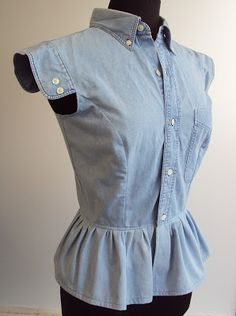 'So, Zo...': Refashion Friday Inspiration: Frill Hem Denim Shirt Remake
