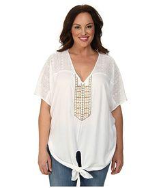 Karen Kane Plus Size Fashion Plus Size Coronado Beaded Tie Front Top Off White available from Zappos #karenkane #off_white #Coronado #beaded #top #plus_size_fashion #zappos