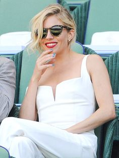 Star Tracks: Monday, July 13, 2015 | TENNIS WHITES | After unwinding on vacation in Spain, Sienna Miller continues on her white-hot style streak as she takes in a Friday tennis match at Wimbledon in London with agent Ari Emanuel.