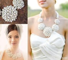 Bridal Jewelry Statement Necklace Designer Inspired White Or Ivory Pearl Boxed
