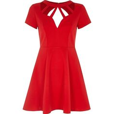 River Island Red caged neck skater dress ($80) ❤ liked on Polyvore featuring dresses, red, skater dresses, women, red dress, circle skirt, red skater dress, short sleeve skater dress and cage dress